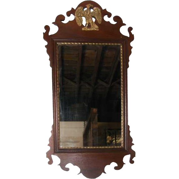English George III Chippendale Mahogany Mirror