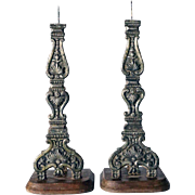 Pair of Indo-Portuguese Baroque Style Silver Mounted Altar Candlesticks