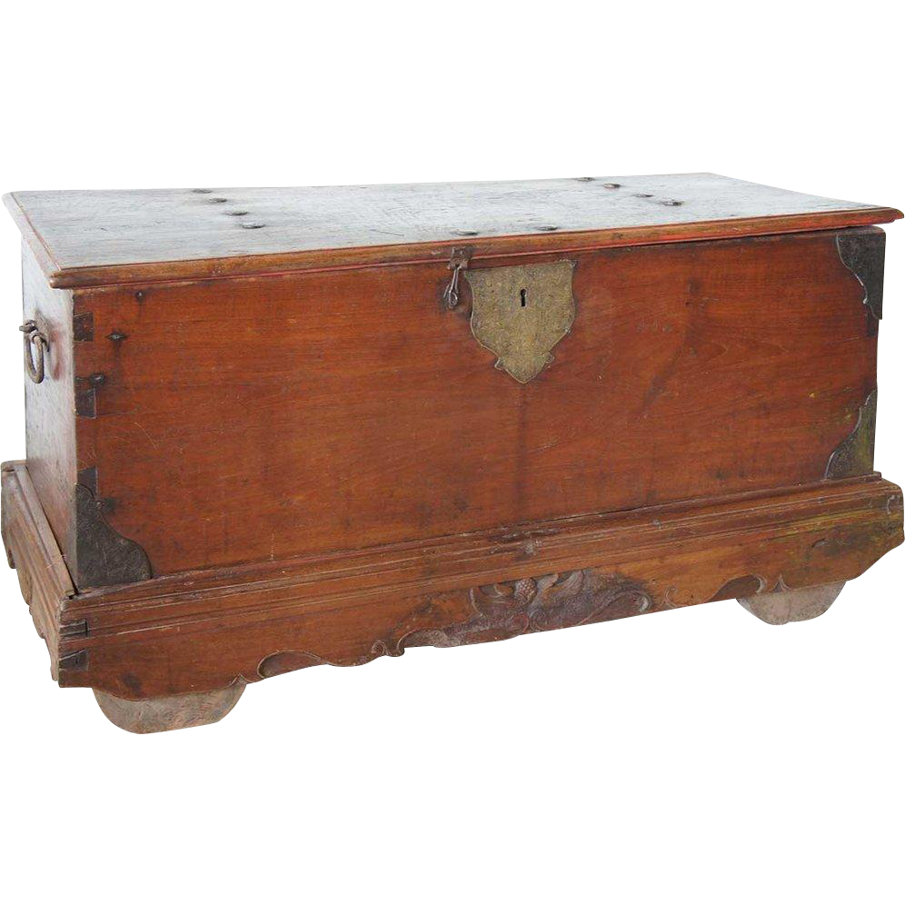 Dutch Colonial Batavian Iron Mounted Teak Trunk on Wheels