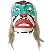 Vintage Northwest Coast I.A.C.A. Red and Green Painted Wooden Mask