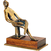 EDGAR BRITTON Polished Bronze Sculpture, Seated Man 1/4