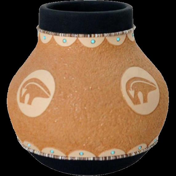 Vintage Native American JOHN GONZALES San Ildefonso Pottery Vessel