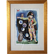 MINA CONANT  Original  Watercolor Painting, The Harlequin with Owls