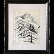 VANCE HALL KIRKLAND Sketch of a Mountain Landscape