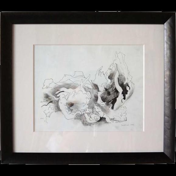 VANCE HALL KIRKLAND Drawing on Paper, Cabbage Leaf