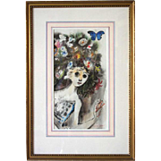 MINA CONANT Pastel Drawing, Girl with Flowered Hair