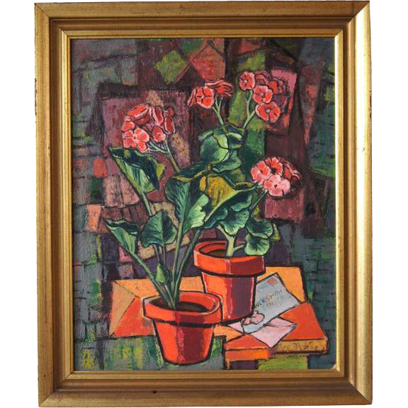 PAUL KAUVAR SMITH Painting, Still Life of Potted Flowers