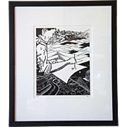 MARK A. LUNNING Linocut Print, Passages, 5/10