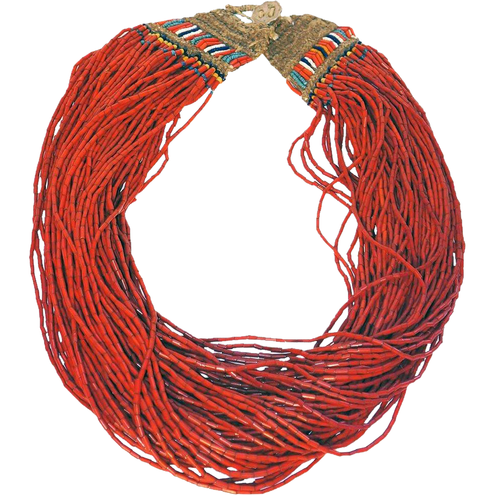 Vintage Nagaland Red Glass Trade Bead Multi-Strand Necklace
