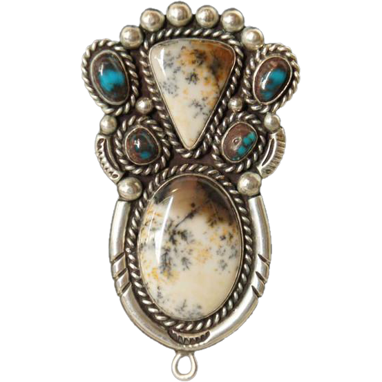 Large Native American Silver, Moss Agate and Turquoise Pin/Necklace