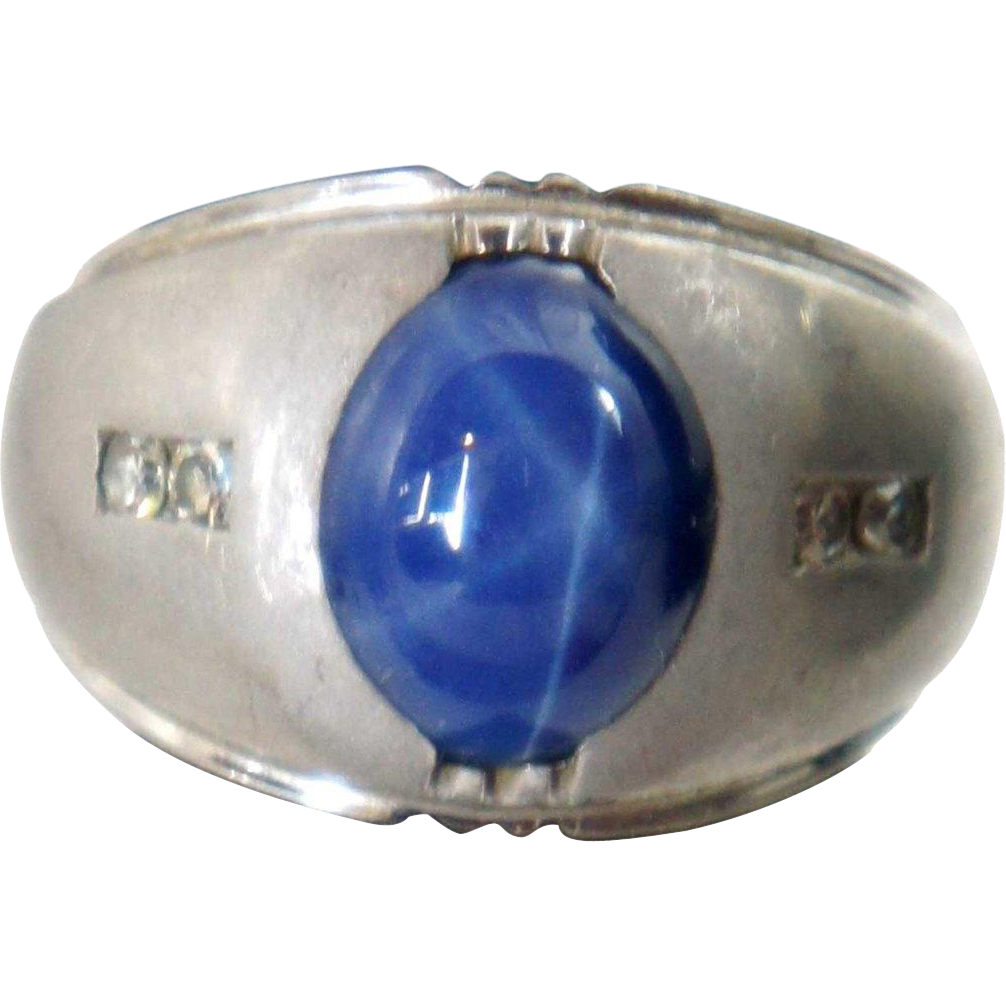 Vintage 14k White Gold, Diamond and Blue Star Sapphire Men's Ring
