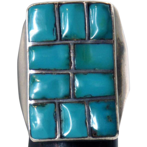 Vintage Native American Silver and Turquoise Mosaic Chanel Inlay Ring