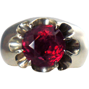 Victorian Style 14k Gold and Belcher Set Synthetic Ruby Ring