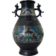 Japanese Export Cloisonne Enamel Bronze Vase as a Table Lamp Base