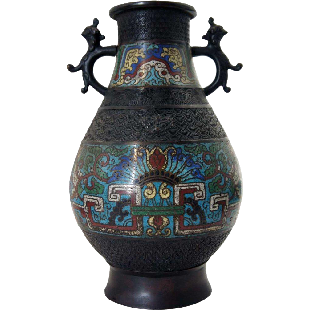 Japanese Export Cloisonne Enamel Bronze Vase as a Table Lamp Base