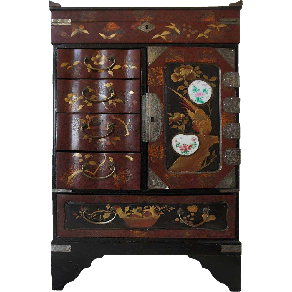 Small Japanese Red Lacquered and Porcelain Insert Jewelry Cabinet