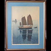 HIROSHI YOSHIDA 1926  Woodblock Print, Sailing Boats, Forenoon