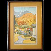 TOSHI YOSHIDA Colored Woodblock, Autumn in Hakone Museum