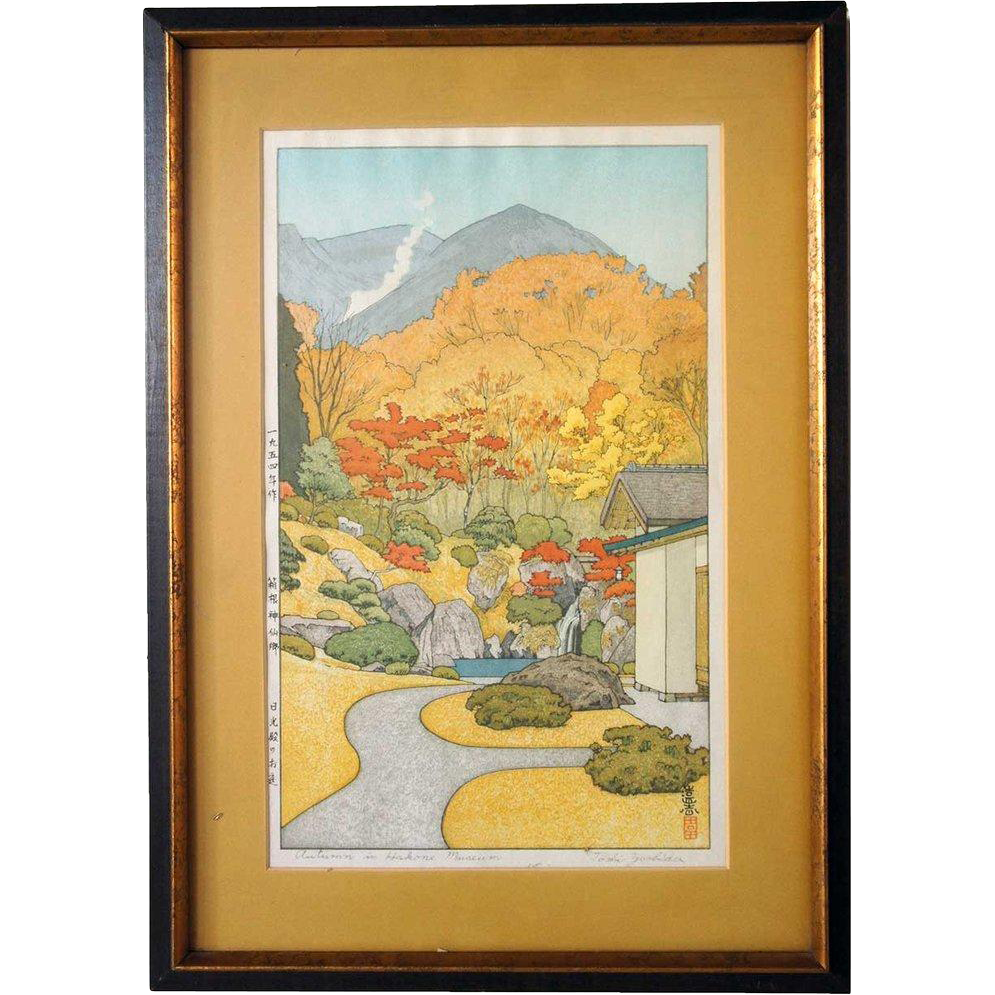 TOSHI YOSHIDA Colored Woodblock, Autumn in Hakone Museum