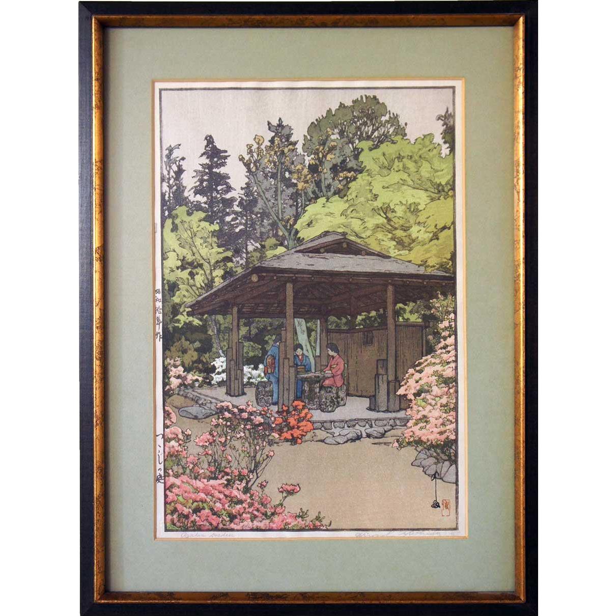 After HIROSHI YOSHIDA Colored Woodblock, Azalea Garden