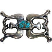 Vintage Native American Silver and Turquoise Belt Buckle