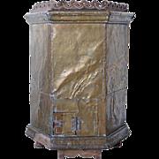 Indo-Portuguese Brass Mounted Teak Alms Box