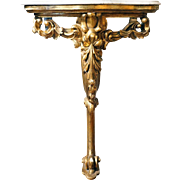Small English Marble Top Giltwood Wall Console Table