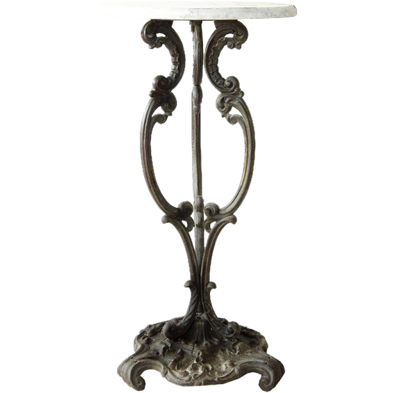 Antique French Cast Iron and Marble Plant Stand Rococo Revival