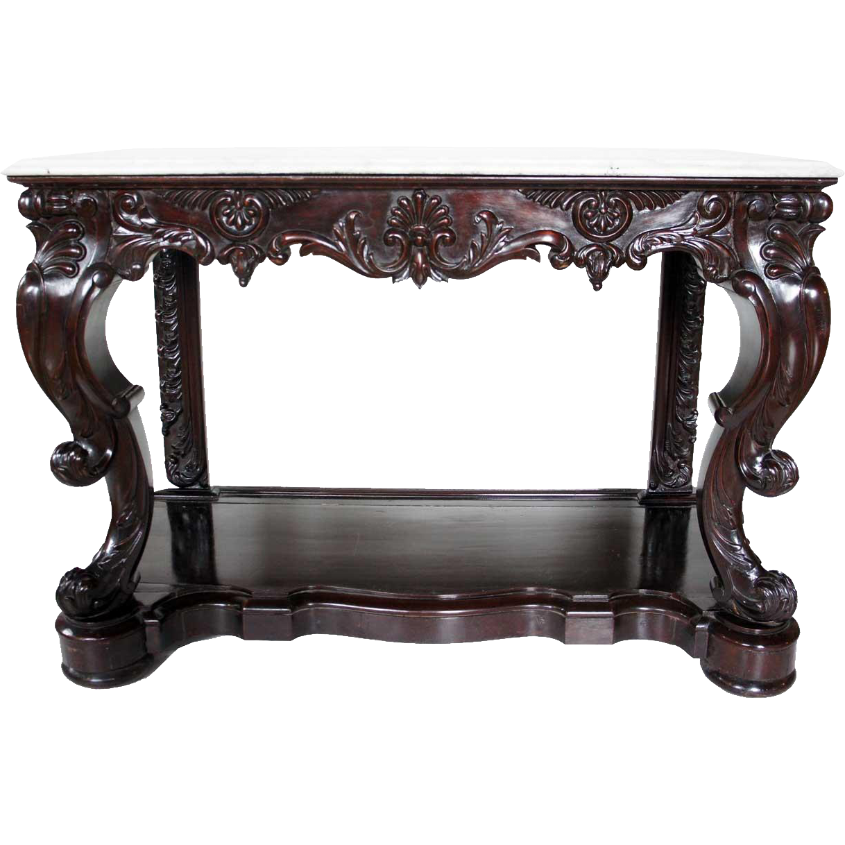 Anglo Indian Rococo Revival Mahogany and Marble Console