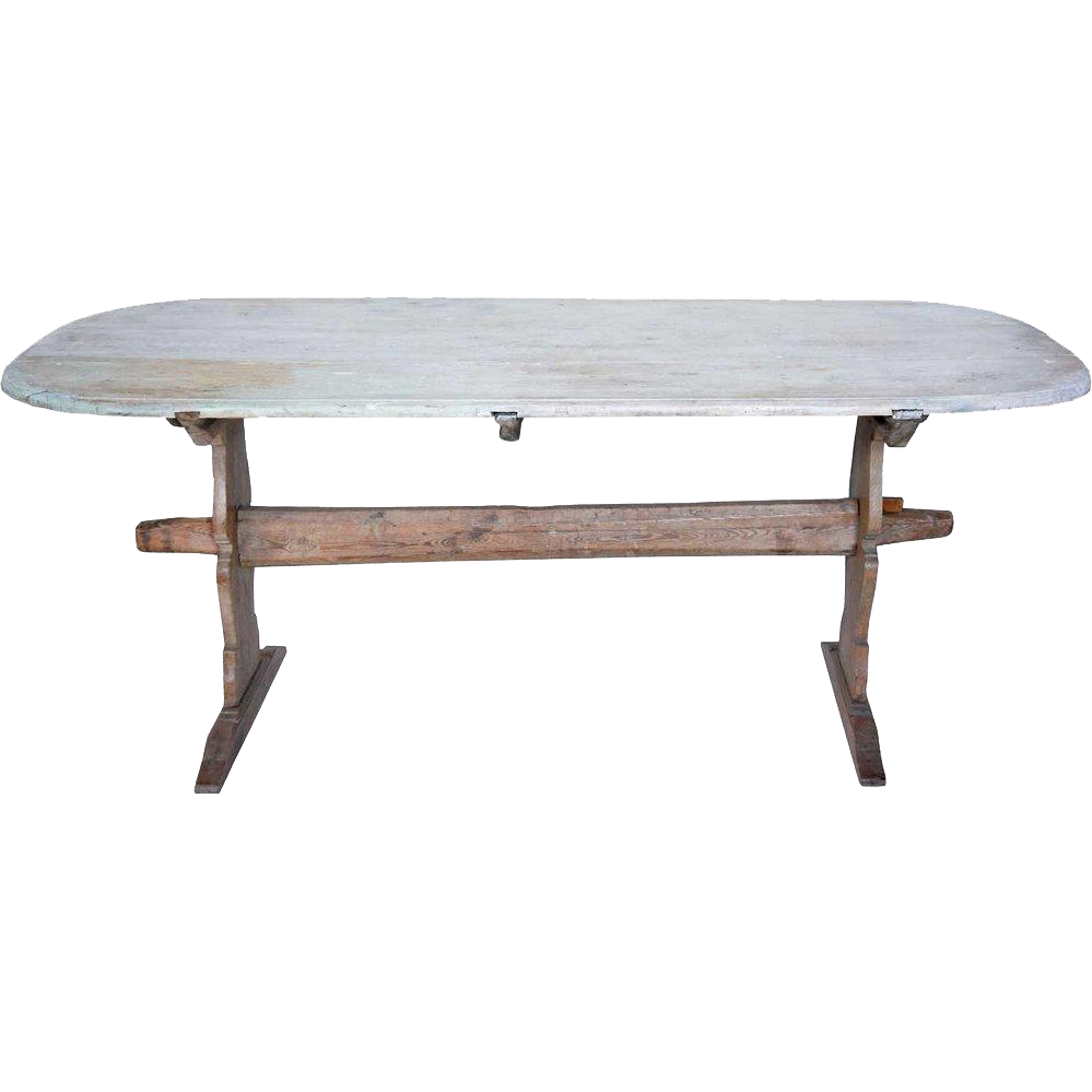 Swedish Painted Pine Trestle Dining Table