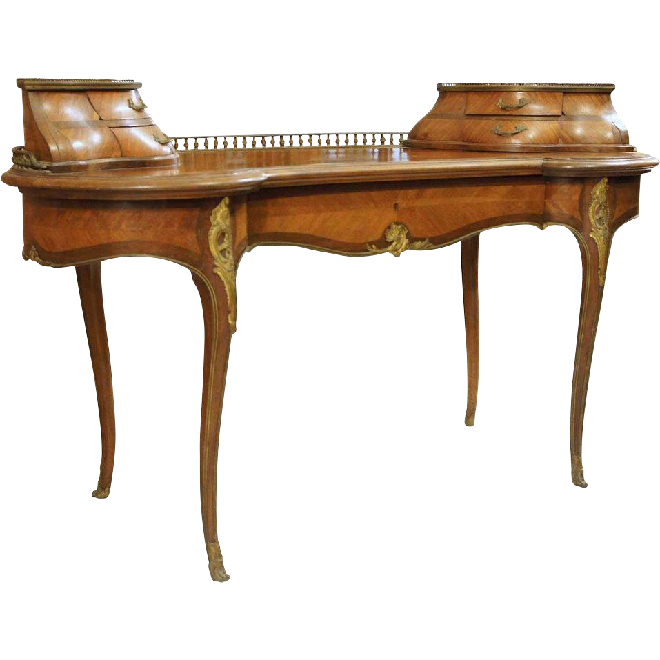 French Maison Jeanselme Louis XV Style Kidney Shaped Parquetry Desk