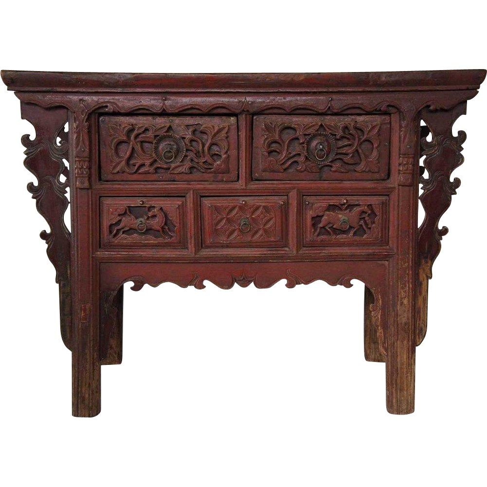 Chinese Shanxi Province Red Stained Elm Two-Drawer Coffer Cabinet