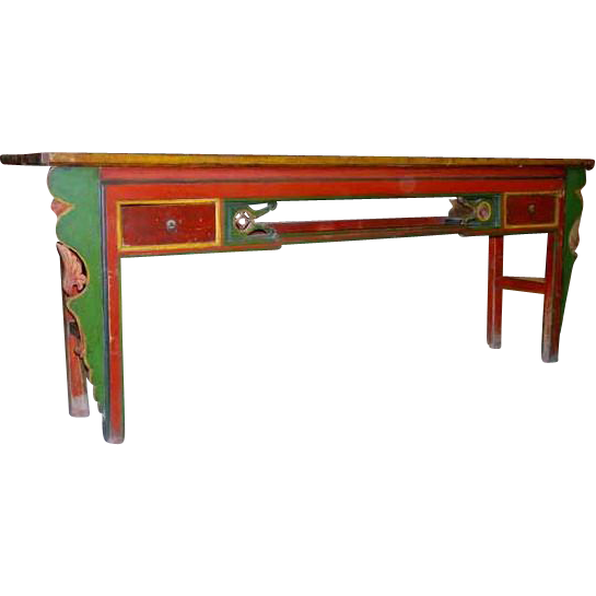 Chinese Gansu Painted Pine Console Table
