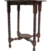 Anglo Indian Georgian Style Rosewood Round Drop-Leaf Side Table