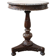 Anglo Indian William IV Rosewood Round Tilt-Top Pedestal Side Table