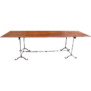 English Wrought Iron and Mahogany Plank Dining Table