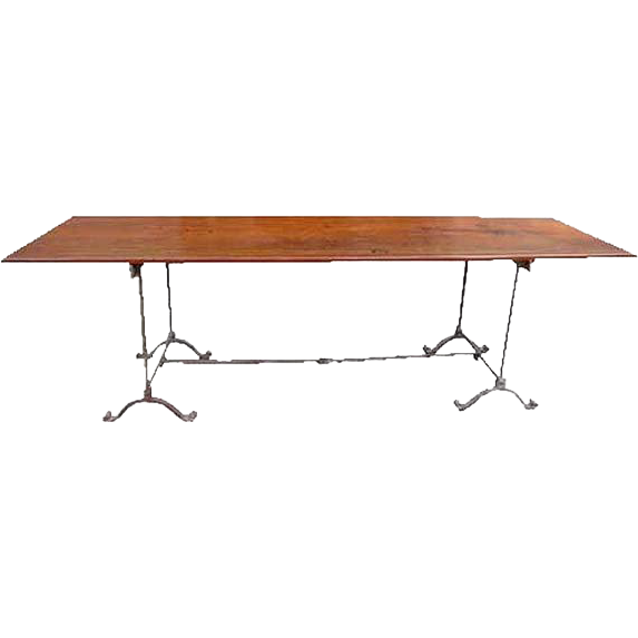 English Wrought Iron and Mahogany Plank Dining Table
