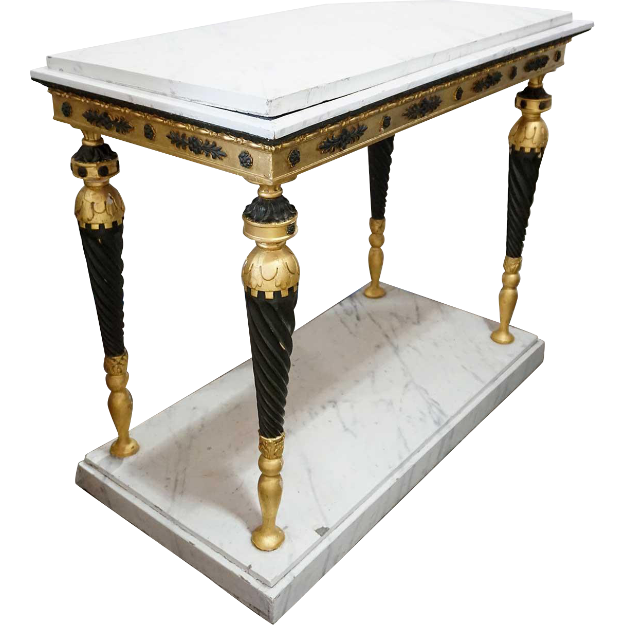 Swedish Gustavian Ebonized, Gilt and Faux Marble Console Table