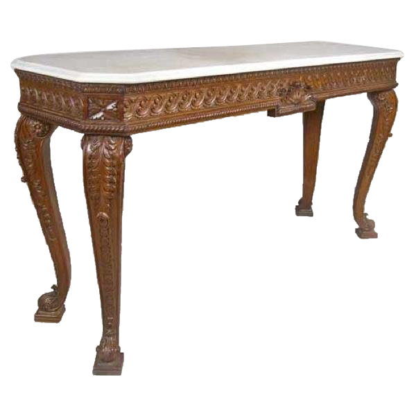 Anglo Indian Teak Marble Top Console Table