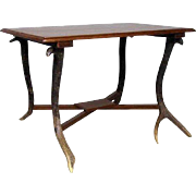 Anglo Indian Teak and Antler Leg Side Table