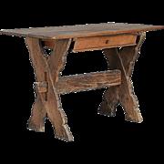 Small Danish Baroque Oak Trestle Table
