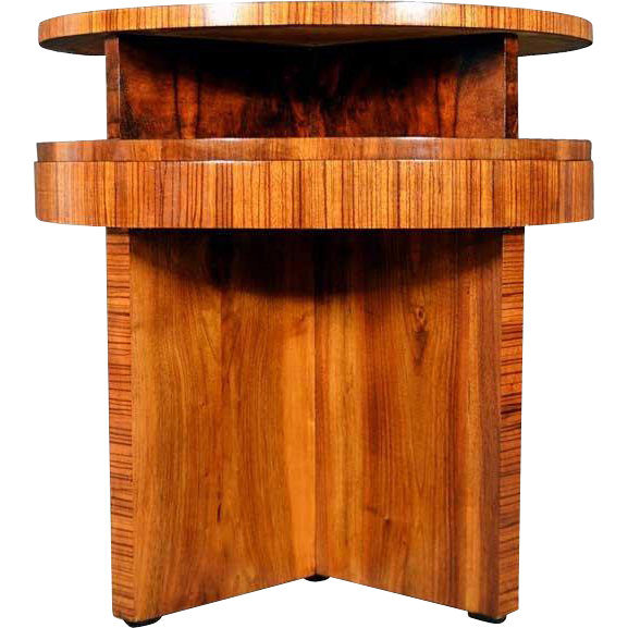 French Art Deco Style Walnut Round Side Table