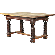 Swedish Celtic Revival Painted Oak and Pine Dining Table