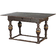 Swedish Baroque Painted and Gilt Pine and Oak Work Table