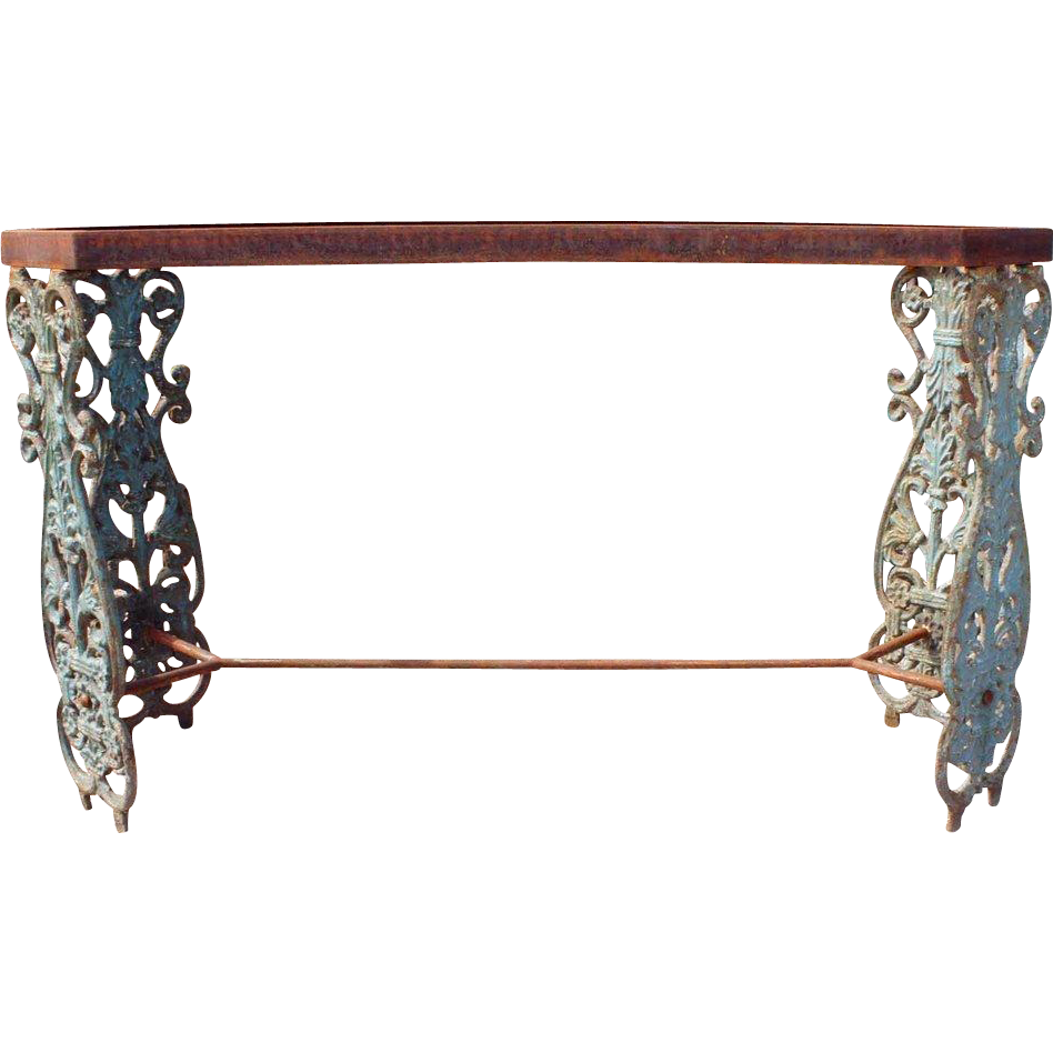 English Painted Cast Iron Balusters as a Console Table Base