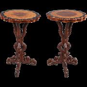 Pair of German Black Forest Burl Walnut and Alder Root Side Tables
