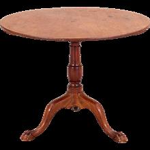 English Mahogany Tilt-top Pedestal Round Side Table