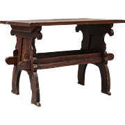 Dutch Dark Oak Plank Trestle Table