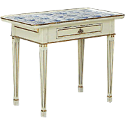 Danish Gustavian Style Painted and Dutch Delft Tile Side Table