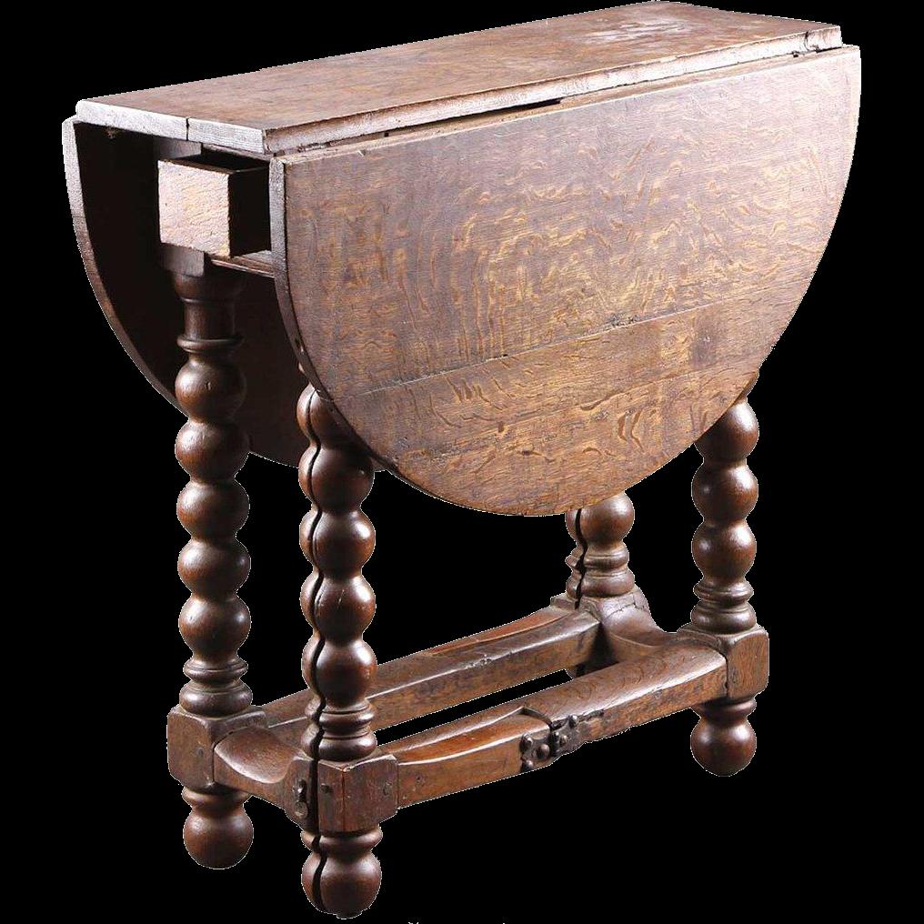 Dutch Oak Gate-Leg Drop-Leaf Table